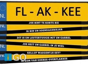 Nummerplaatstickers in dialect Goeree-Overflakkee