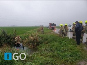 Ongeval auto te water Bosweg Ooltgensplaat