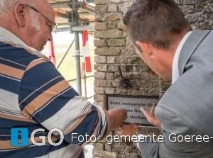 Onthulling gedenksteen Klaas Baas bij Fort Prins Frederik