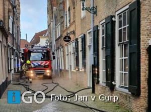 Gebouwbrand Kerkstraat nabij Streekmuseum in Sommelsdijk