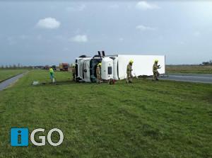 [Video] Eenzijdig ongeval vrachtwagen N59 tussen Den bommel - Oude-Tonge