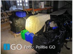11000 ltr. grondstoffen synthetische drugs loods Spuidijk Ooltgensplaat