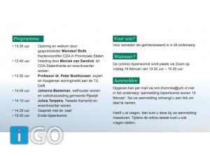 Online bijeenkomst wonen in Zuid-Holland/ Goeree-Overflakkee