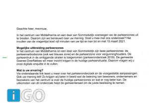 Wethouder Feller stuurt brief evt. uitbreiding parkeerzones Middelharnis/Sommelsdijk