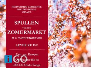 Inleverdata Zomermarkt Hervormde gemeente Nieuwe-Tonge