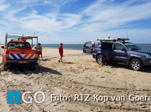 Melding (vos-) haai bij Ouddorpse Reddingsbrigade strand Ouddorp