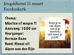 Welkom in jeugddienst in Exoduskerk Sommelsdijk
