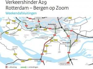 Weekendafsluitingen A29 Rotterdam richting Hellegatsplein